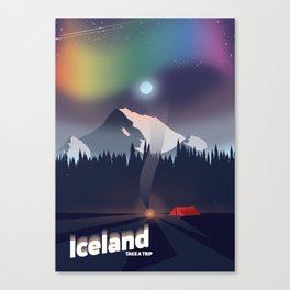 Iceland Northern lights travel poster Canvas Print