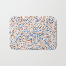 Paris City Map Poster Bath Mat