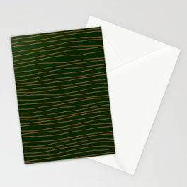 Hand Drawn Lines - Orange / Dark Green Stationery Cards