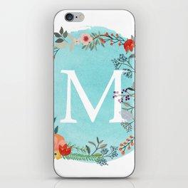 Personalized Monogram Initial Letter M Blue Watercolor Flower Wreath Artwork iPhone Skin