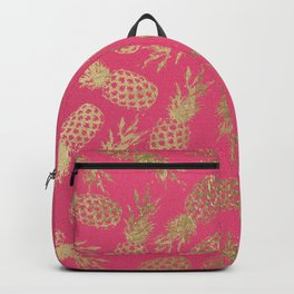 Tropical neon pink faux gold pineapple fruit pattern Backpack