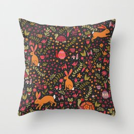 Tortoise and the Hare in Red Throw Pillow