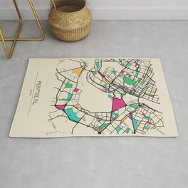 Colorful City Maps: Montreal, Canada Rug
