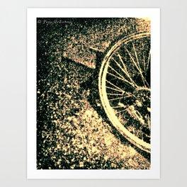 Bike Tire in the Rain 3 Art Print