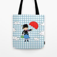 mary poppins Tote Bags featuring Mary Poppins by EnelBosqueEncantado
