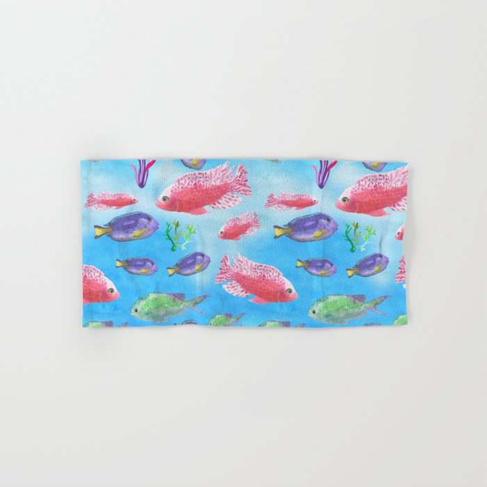 The deep sea-fishes in the sea- watercolor illustration Hand & Bath Towel