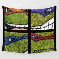 ninja turtles Wall Tapestries featuring Teenage Mutant Ninja Turtles Set by chris panila