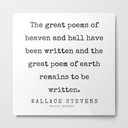 37       200227   Wallace Stevens Quotes   Wallace Stevens Poems Metal Print