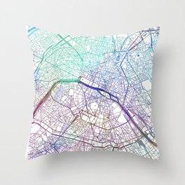 Paris City Map Watercolor Blue by zouzounioart Throw Pillow
