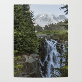Mount Rainier and Myrtle Falls, Late Afternoon Poster