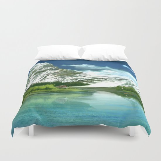 Mountain and lake landscape Duvet Cover