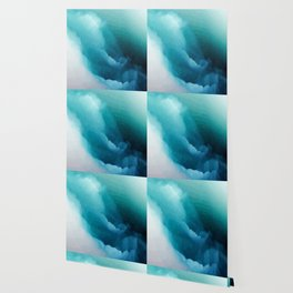 """Inner Calm"" Turquoise Modern Contemporary Abstract Wallpaper"