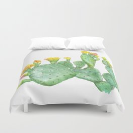 Prickly Pear Cactus Watercolor Duvet Cover
