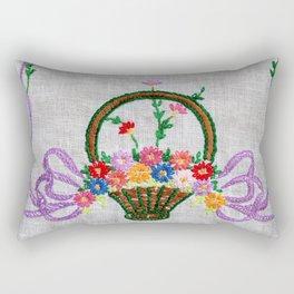 Flower Basket Embroidery Rectangular Pillow