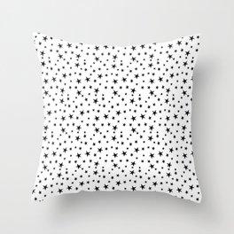 Mini Stars - Black on White Throw Pillow