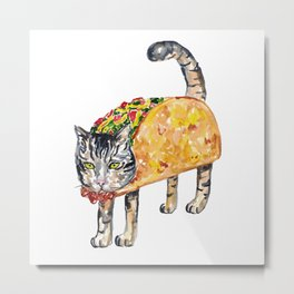 Taco cat Painting Kitchen Wall Poster Watercolor Metal Print
