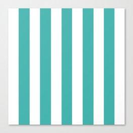 Verdigris blue - solid color - white vertical lines pattern Canvas Print