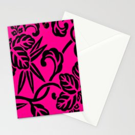 Hot Pink & Black Japanese Leaf Pattern Stationery Cards