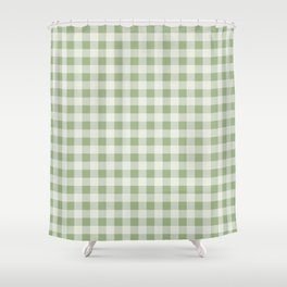 Gingham Pattern - Natural Green Shower Curtain