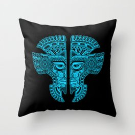Blue and Black Aztec Twins Mask Illusion Throw Pillow