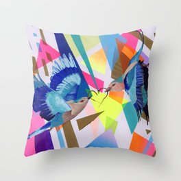 Geo Fly Birds Throw Pillow