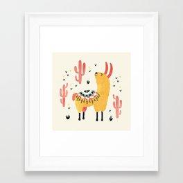 Yellow Llama Red Cacti Framed Art Print