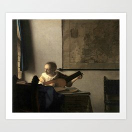 Vermeer,Woman with a Lute,Mujer con laúd, De luitspeelster Art Print