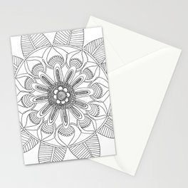 Petals and Leaves - black & white Stationery Cards