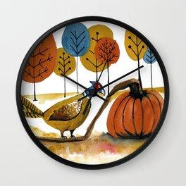 Fall Pheasant Wall Clock