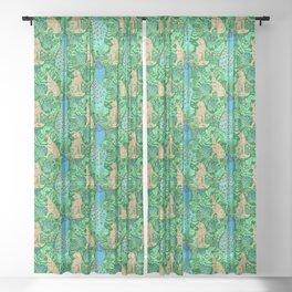 Art Nouveau Peacock Print, Cobalt Blue and Emerald Green Sheer Curtain