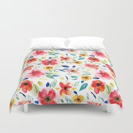 Bright Playful Watercolour Floral Pattern Duvet Cover