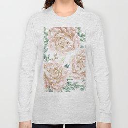 Pretty Blush Pink Roses Flower Garden Long Sleeve T-shirt