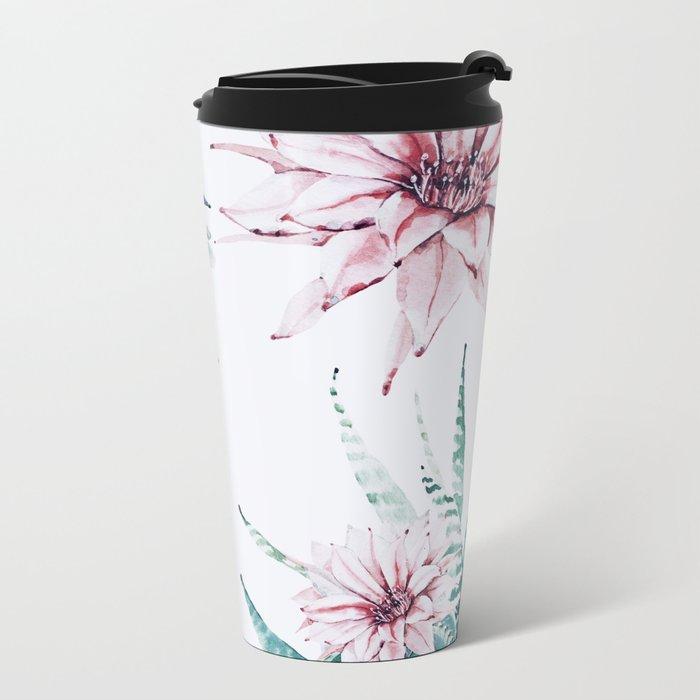Cactus flowers Metal Travel Mug