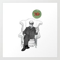 freud Art Prints featuring Freud by Roberta Zeta