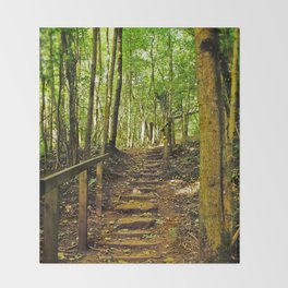 Stairway to Woodland Sanctuary Throw Blanket