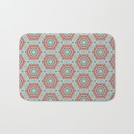 Pink and Mint Geometric Beaded Pattern Bath Mat