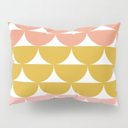 Pretty Geometric Bowls Pattern in Coral and Mustard Pillow Sham