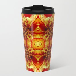 Red-With a Touch of Yellow Metal Travel Mug
