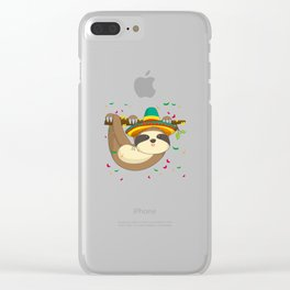 Cute Climbing Sloth With Cinco De Mayo Hat T-Shirt Clear iPhone Case