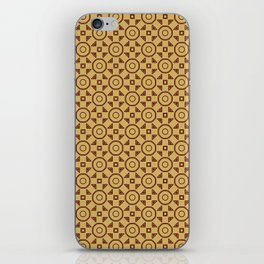 Handdrawn Geometric Pattern Red on Gold iPhone Skin