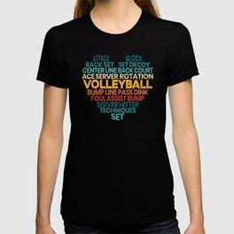 Volleyball Word Cloud Sport Gameday Spike Net T-shirt