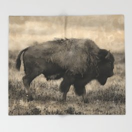 Plains Bison   -  American Buffalo Throw Blanket