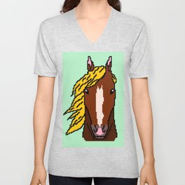 Horse with yellow hair Unisex V-Neck