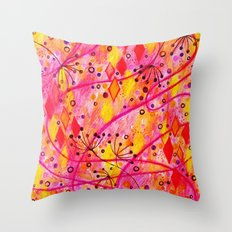 INTO THE FALL - Beautiful Nature Autumn Floral Raspberry Pink Cherry Abstract Watercolor Painting Throw Pillow