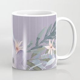 Striped Floral Lavender Bouquet Coffee Mug