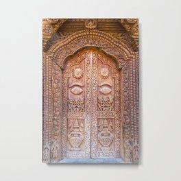 Entrance to a Temple Kathmandu, Nepal Metal Print