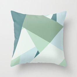 Modern abstract beach color block geometric stripes blue green pattern Throw Pillow