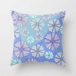 sea urchin blue watercolor Throw Pillow