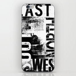 East South North West Black White Grunge Typography iPhone Skin