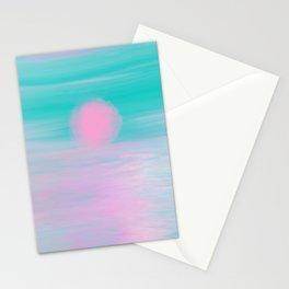 Abstract lavender teal pink watercolor sunset Stationery Cards
